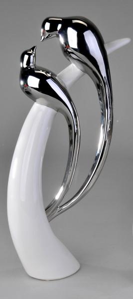Modern sculpture of a bird pair 30cm ceramic white-silver