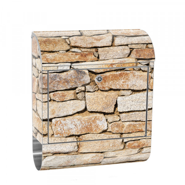Stainless Steel Letterbox with Newspaper roll & Motif stone Stone Optic Wall | No. 0163