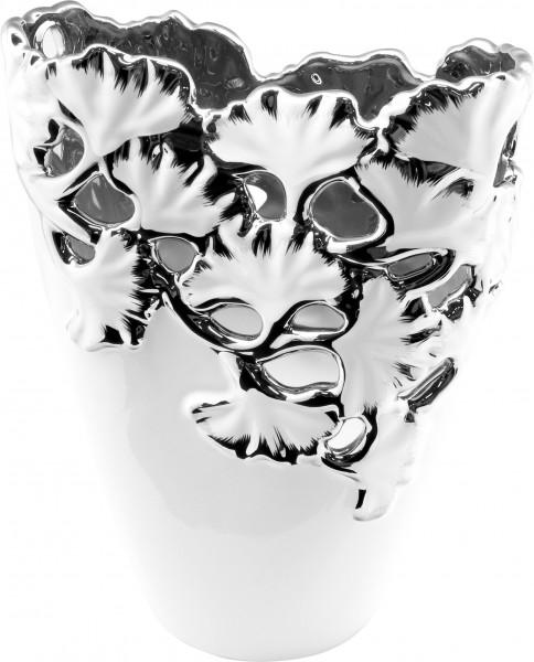 Moderne Dekovase Blumenvase Vase aus Keramik weiß mit silbernen Applikationen Höhe 23 cm Breite 19 c