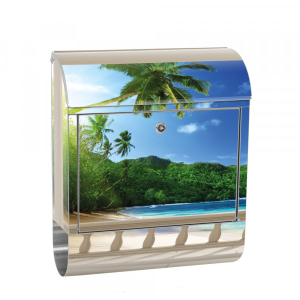 Stainless Steel Letterbox with Newspaper roll & Motif Lake view 3D Beach | No. 0121