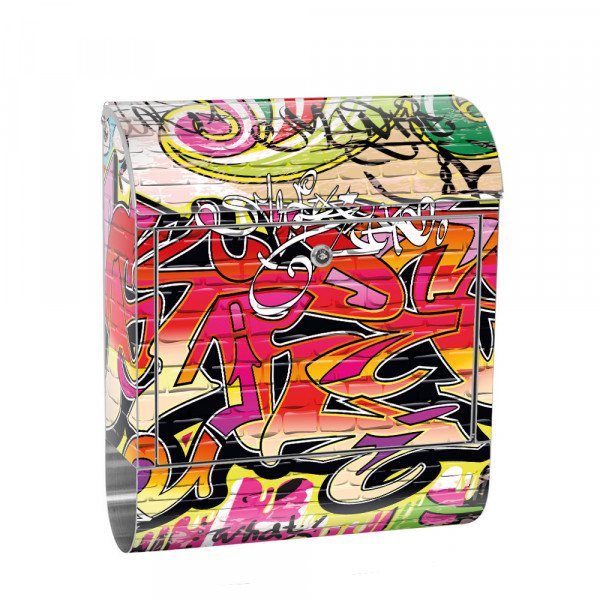 Stainless Steel Letterbox with Newspaper roll & Motif Streetart Graffiti 3D | No. 0220