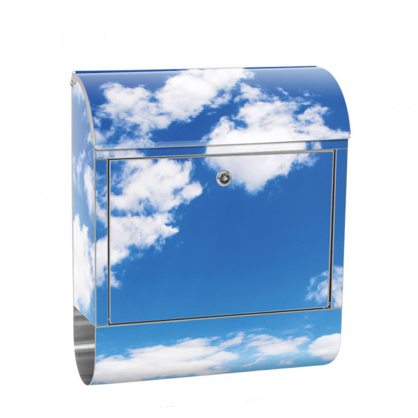 Stainless Steel Letterbox with Newspaper roll & Motif Sky clouds Holiday | No. 0154