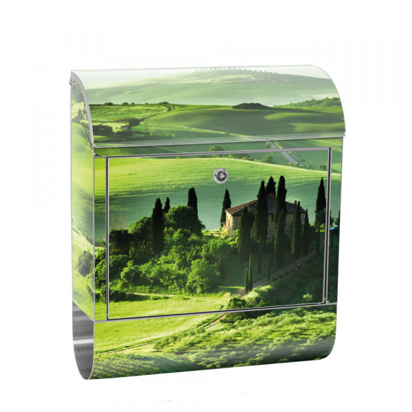 Stainless Steel Letterbox with Newspaper roll & Motif Sunrise Tuscany | No. 0068