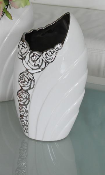 Wunderschöne Dekovase Blumenvase mit Rosenmuster aus Keramik weiß/silber Höhe 27 cm