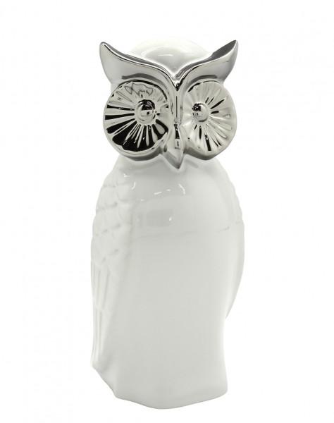 Moderne Skulptur Dekofigur Eule 'Wisdom' im 2er Set aus Keramik Weiß/Silber Höhe 18 cm Breite 10