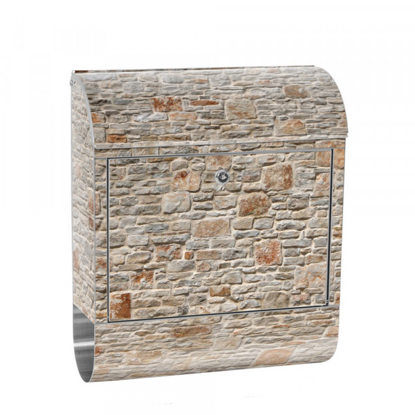 Stainless Steel Letterbox with Newspaper roll & Motif Stone Optic old Wall | No. 0082