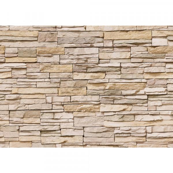 Vlies Fototapete Asian Stone Wall - beige - anreihbar Steinwand Tapete Steinoptik Stein Wand Wall