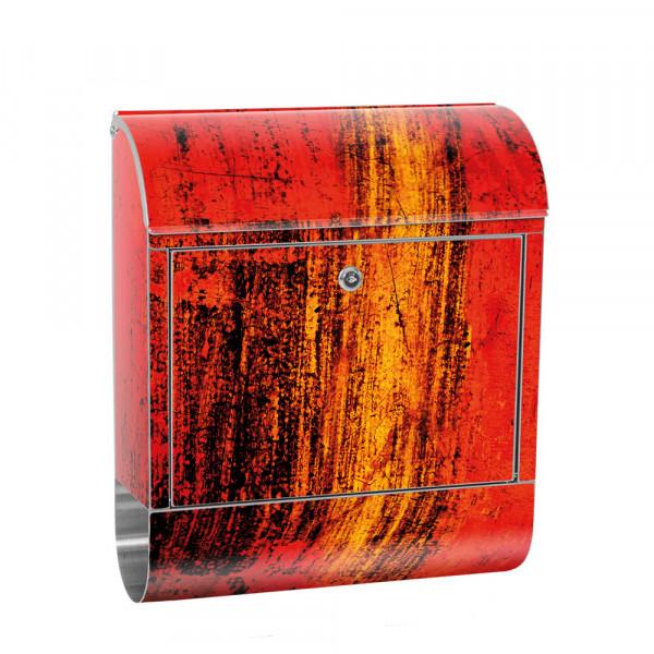 Edelstahlbriefkasten mit Zeitungsrolle & Motiv abstrakt 3D Rot braun | no. 0103
