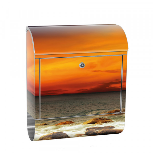 Stainless Steel Letterbox with Newspaper roll & Motif Sunrise Rocks | No. 0060