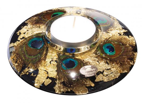 Modern tealight holder lantern holder 'Pavos' made of glass 18x7 cm * Exclusive handmade *