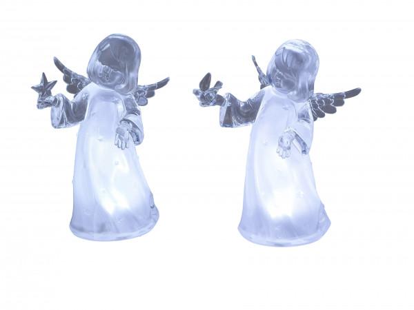 Wunderschöne Engel Skulpturen beleuchtet 2 Stück Weihnachten Weihnachtsdekoration aus Acryl Höhe 16