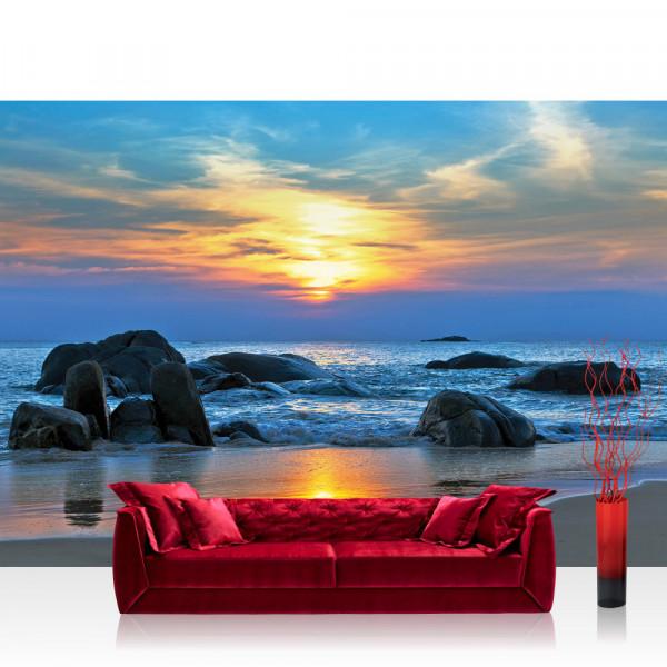 Vlies Fototapete Meer Tapete Strand Felsen Meer Wellen Sonnenuntergang blau