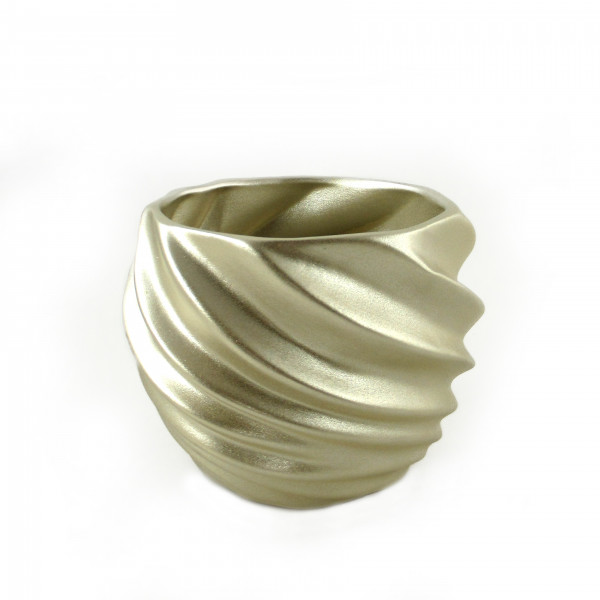 Planter planter Vase for flowers made of ceramic in the color champagne gold 21x21x17 cm