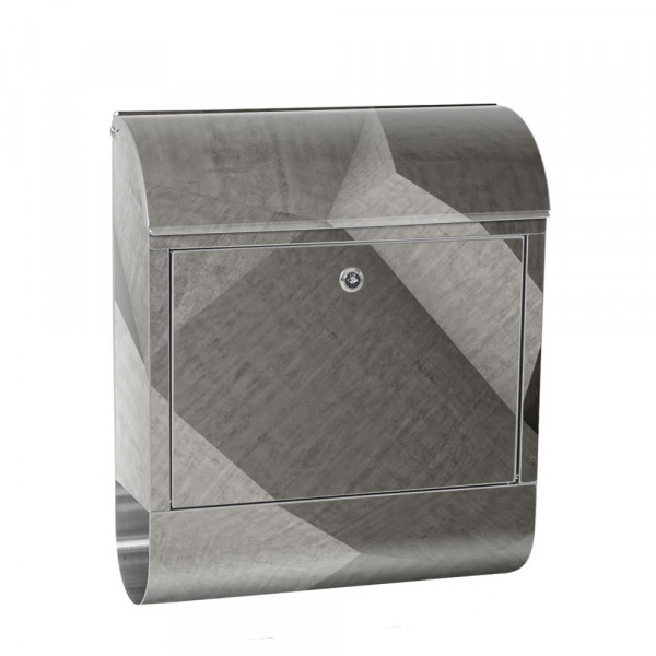 Stainless Steel Letterbox with Newspaper roll & Motif stone Stone Optic concrete | No. 0006