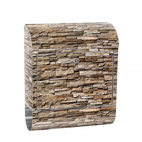 Stainless Steel Letterbox with Newspaper roll & Motif stone wall Stone Optics | No. 0145