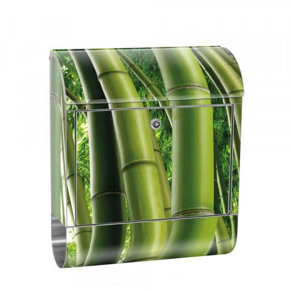 Edelstahlbriefkasten mit Zeitungsrolle & Motiv Bambus Wald Dschungel | no. 0075