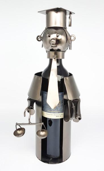 Extravaganter Wein Flaschenhalter Flaschenständer Anwalt aus Metall in silber Höhe 33 cm