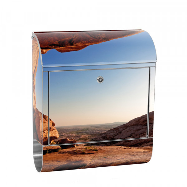 Stainless Steel Letterbox with Newspaper roll & Motif Nature Canyon Mountains | No. 0034