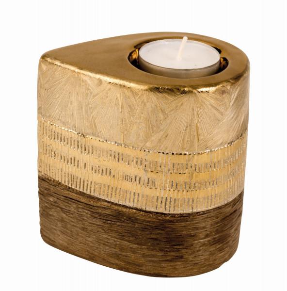 Moderner Teelichthalter Teelichtleuchte aus Keramik gold/braun Höhe 10 cm Breite 7 cm