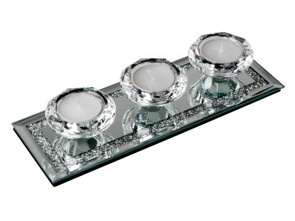 Moderner Teelichthalter Windlichthalter 4 teilig aus Glas transparent mit Steinen verziert 25x9 cm