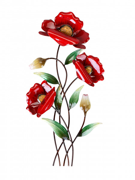Beautiful wall decoration Wall branch poppy flower of metal red Height 46 cm
