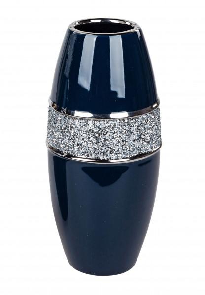 Moderne Dekovase Blumenvase Tischvase Vase aus Keramik Blau Silber glänzend 14x34 cm