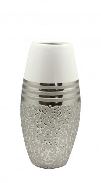 Modern deco vase flower vase table vase 'St.Louis' ceramic white / silver height 28 cm