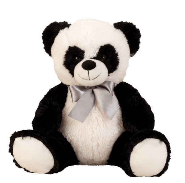 Soft cuddly soft panda bear Cuddly bear with bow to love in black / white height 50 cm