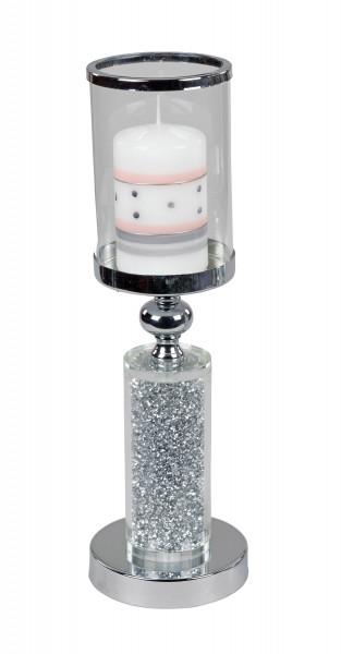 Windlichthalter Kerzenhalter Windlicht in elegantem Design aus glänzendem Chrom und geschliffenem Gl