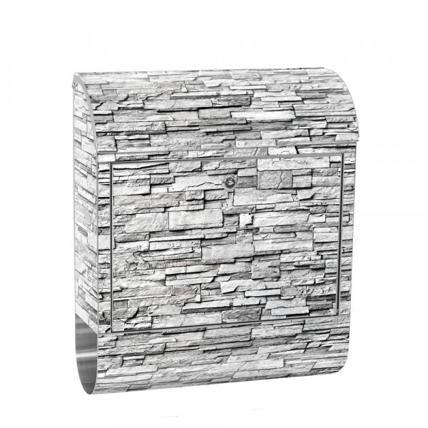 Stainless Steel Letterbox with Newspaper roll & Motif stone wall Stone Optics | No. 0144