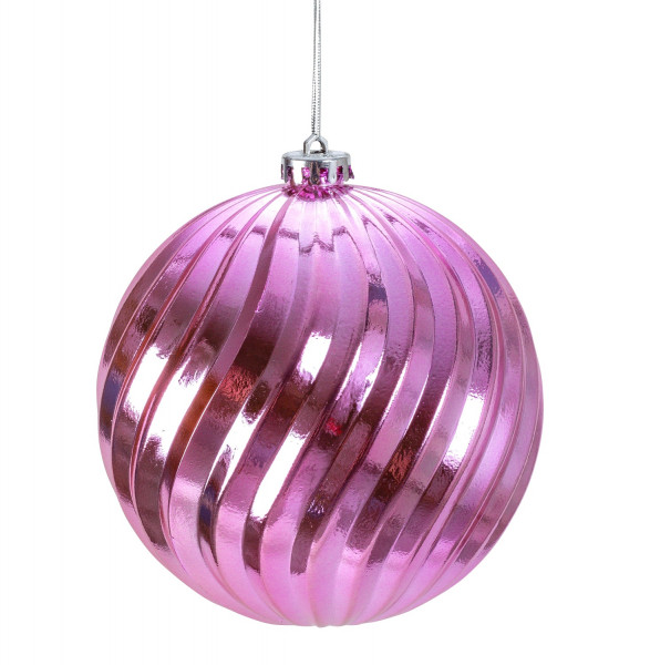 Large Christmas Baubles Baubles SET with 4 pieces of color pink shiny diameter 15 cm