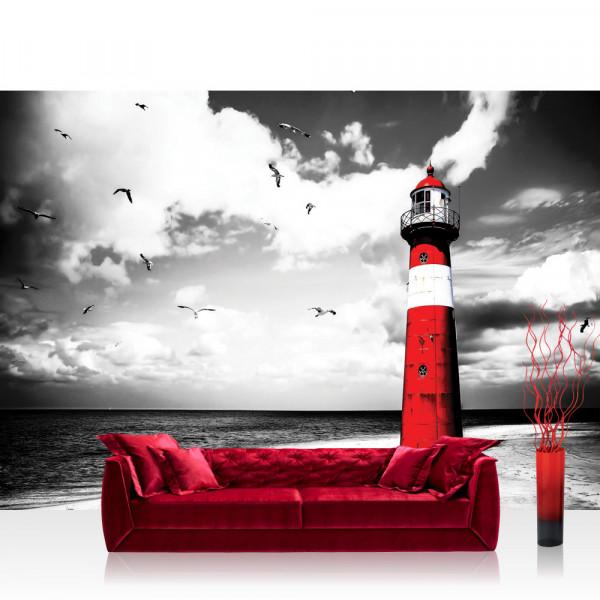 Vlies Fototapete Strand Tapete Leuchtturm Strand Wolken Meer Vögel Möwen rot