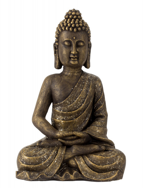 Modern sculpture Deco figure Buddha made of artificial stone gold copper color Height 48 cm Width 31 cm