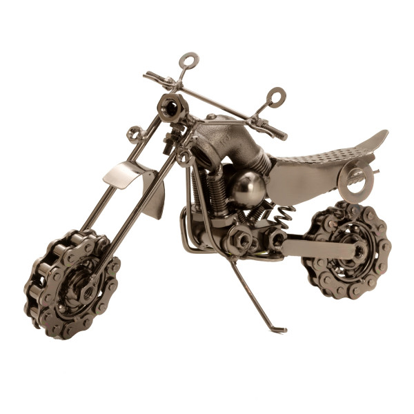 Sculpture Deco figure Motorcycle metal silver length 25 cm height 14 cm