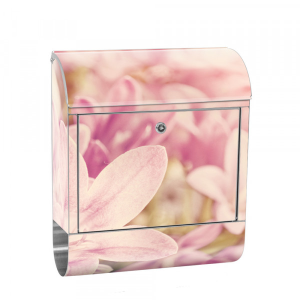 Stainless Steel Letterbox with Newspaper roll & Motif flower flower nature | No. 0195