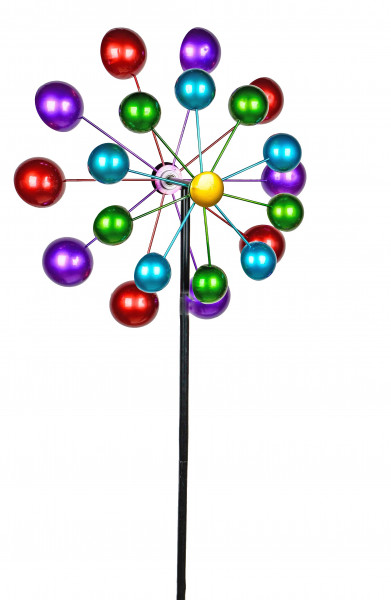 Wind rad Wind Chime Flower as Garden Plug of Metal blue, green, purple and red Length of 124 cm