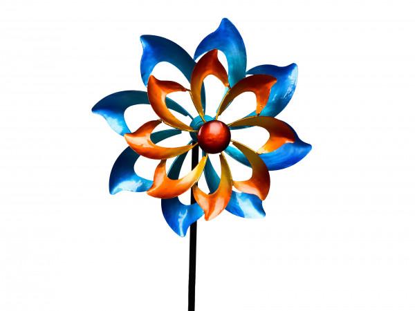 Windrad Windspiel Blume als Gartenstecker aus Metall blau, rot und orange mit einer Länge von 122 cm