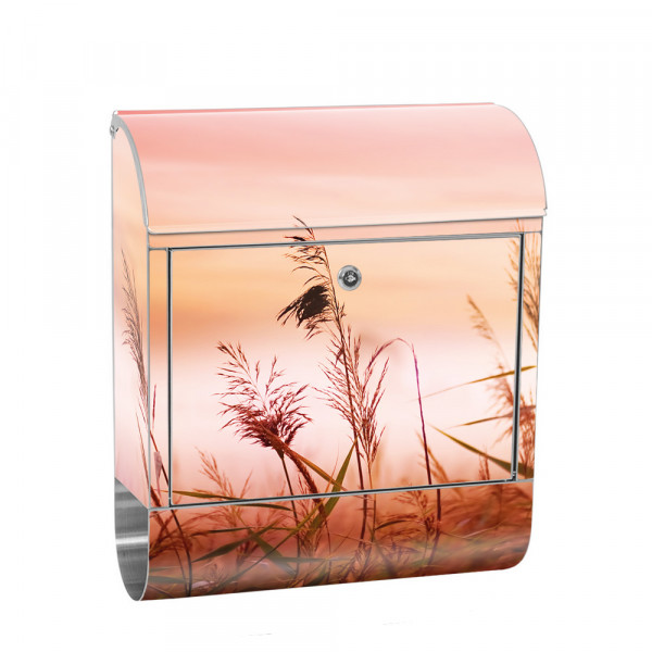 Stainless Steel Letterbox with Newspaper roll & Motif Sunrise Dunes | No. 0077