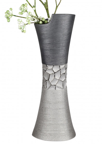 Modern deco vase flower vase Table vase ceramic vase silver glossy and matte 14x40 cm