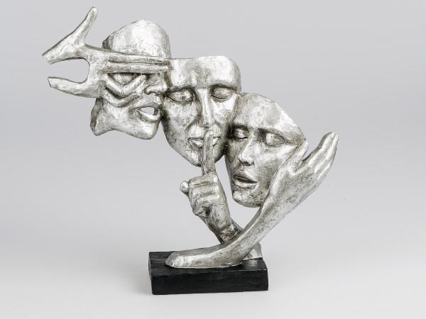 Exklusive Deko Büste Skulptur Dekofigur aus Kunststein in schwarz/silber Höhe 37cm