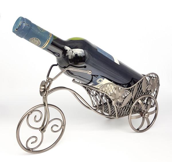 Moderner Wein Flaschenhalter Flaschenständer Fahrrad aus Metall in silber Höhe 16 cm Breite 31 cm