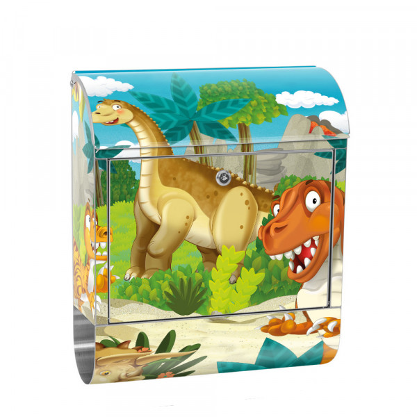Stainless Steel Letterbox with Newspaper roll & Motif Dino Dinosaur Prehistoric Period | No.0119
