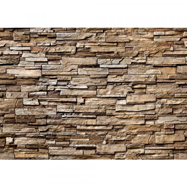 Vlies Fototapete Noble Stone Wall - braun - anreihbar Steinwand Tapete Steinoptik Stein Wand Wall