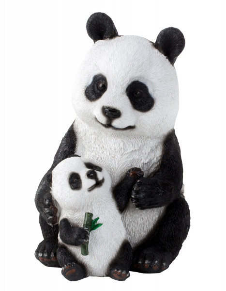 Sculpture Deco figurine Panda with baby black and white artificial stone height 24 cm