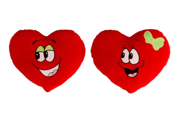 Cuddly soft heart pillow in a set of 2 Cuddly heart plush heart red 37x33cm