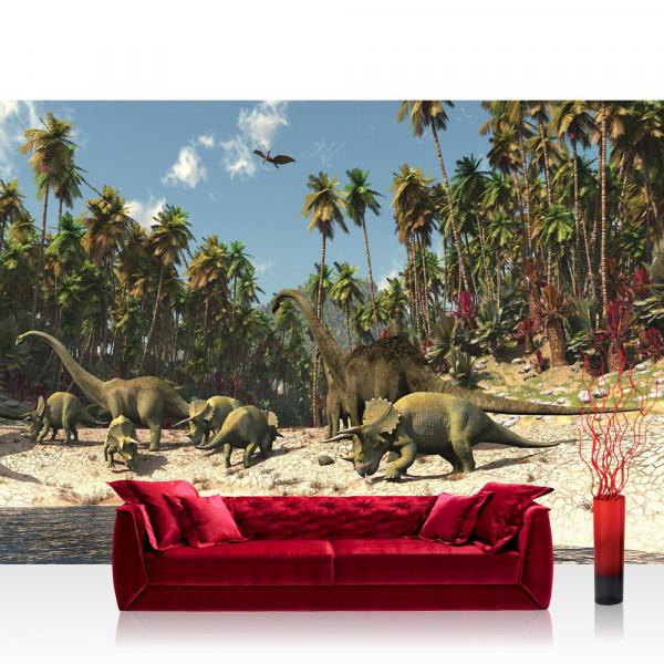 Vlies Fototapete Kindertapete Tapete Dinosaurier Strand Palmen Animation grün