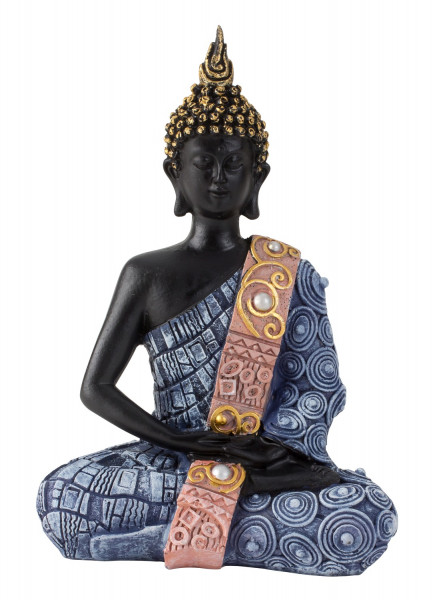Modern sculpture Deco figure Buddha made of artificial stone black / blue 13x20 cm