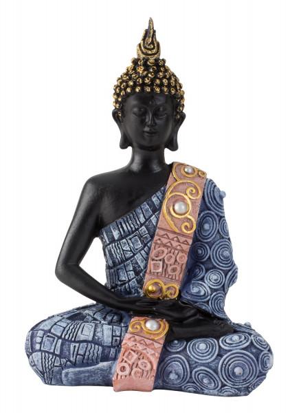Moderne Skulptur Dekofigur Buddha aus Kunststein schwarz/blau 13x20 cm