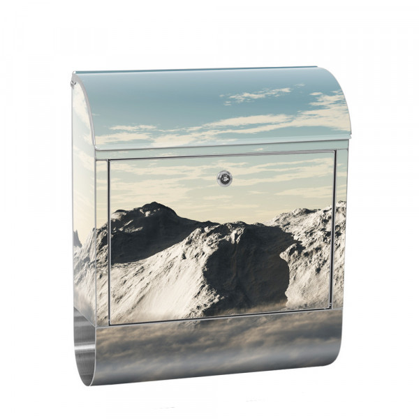 Stainless Steel Letterbox with Newspaper roll & Motif Mountains Clouds sun | No. 0244