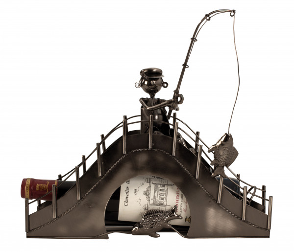 Modern Weinflaschenhalter anglers on metal bridge height 31,5 cm width 33 cm